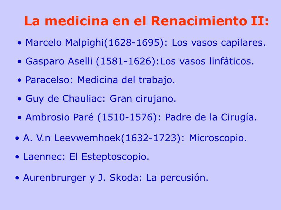 La medicina en el Renacimiento II: Marcelo Malpighi(1628-1695): Los vasos capilares. Gasparo Aselli (1581-1626):Los vasos linfáticos. Paracelso: Medic