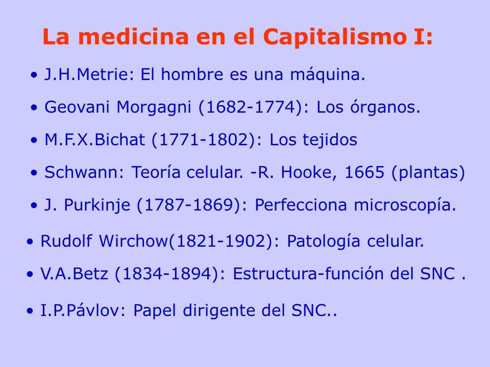 La medicina en el Capitalismo I: J.H.Metrie: El hombre es una máquina. Geovani Morgagni (1682-1774): Los órganos. M.F.X.Bichat (1771-1802): Los tejido
