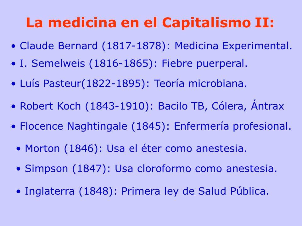 La medicina en el Capitalismo II: Claude Bernard (1817-1878): Medicina Experimental. I. Semelweis (1816-1865): Fiebre puerperal. Luís Pasteur(1822-189