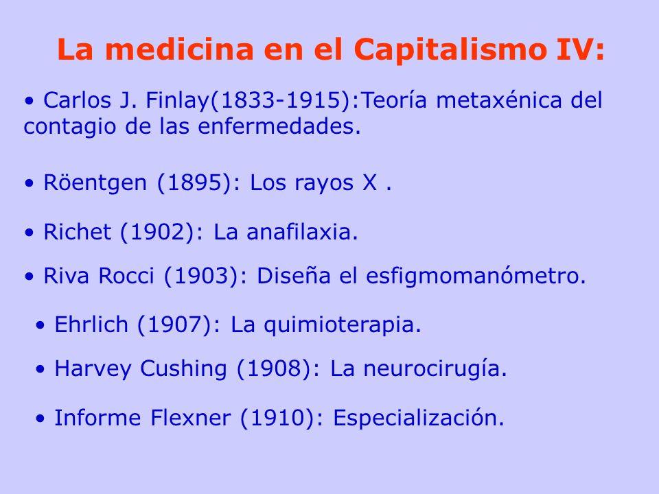 La medicina en el Capitalismo IV: Carlos J. Finlay(1833-1915):Teoría metaxénica del contagio de las enfermedades. Röentgen (1895): Los rayos X. Richet