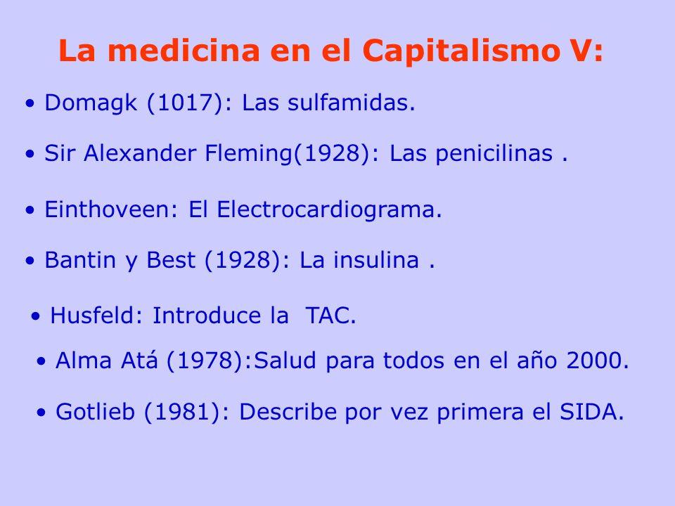 La medicina en el Capitalismo V: Domagk (1017): Las sulfamidas. Sir Alexander Fleming(1928): Las penicilinas. Einthoveen: El Electrocardiograma. Banti