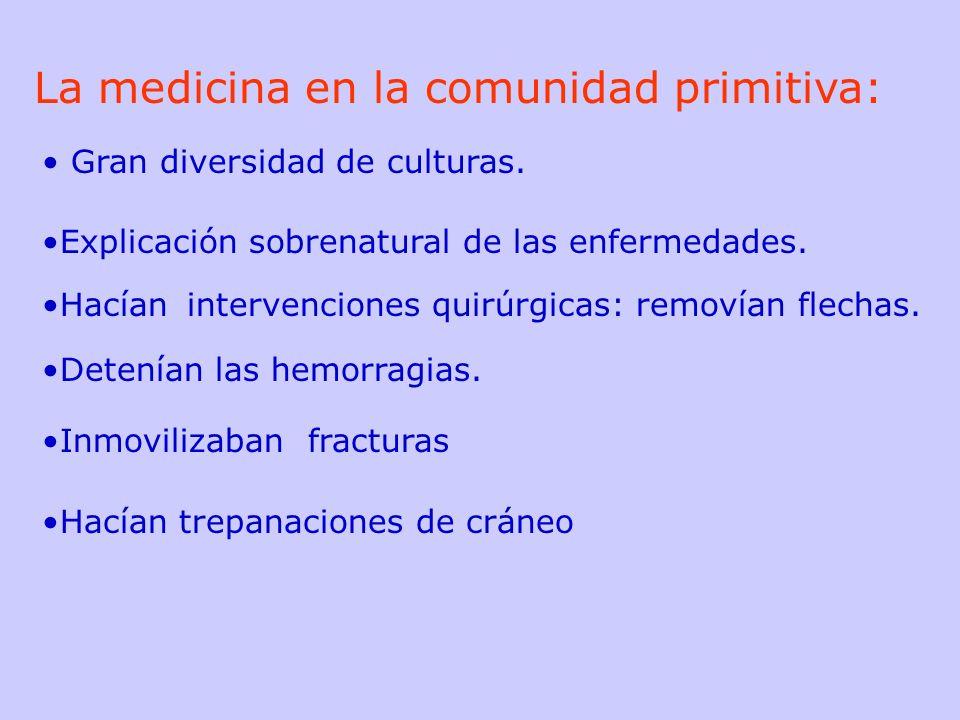La medicina en la comunidad primitiva: Gran diversidad de culturas. Explicación sobrenatural de las enfermedades. Hacían intervenciones quirúrgicas: r