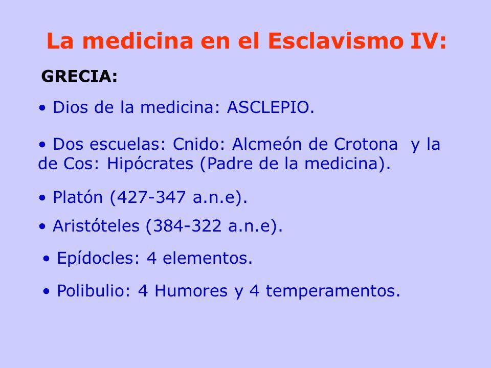 La medicina en el Esclavismo IV: Dios de la medicina: ASCLEPIO. Dos escuelas: Cnido: Alcmeón de Crotona y la de Cos: Hipócrates (Padre de la medicina)