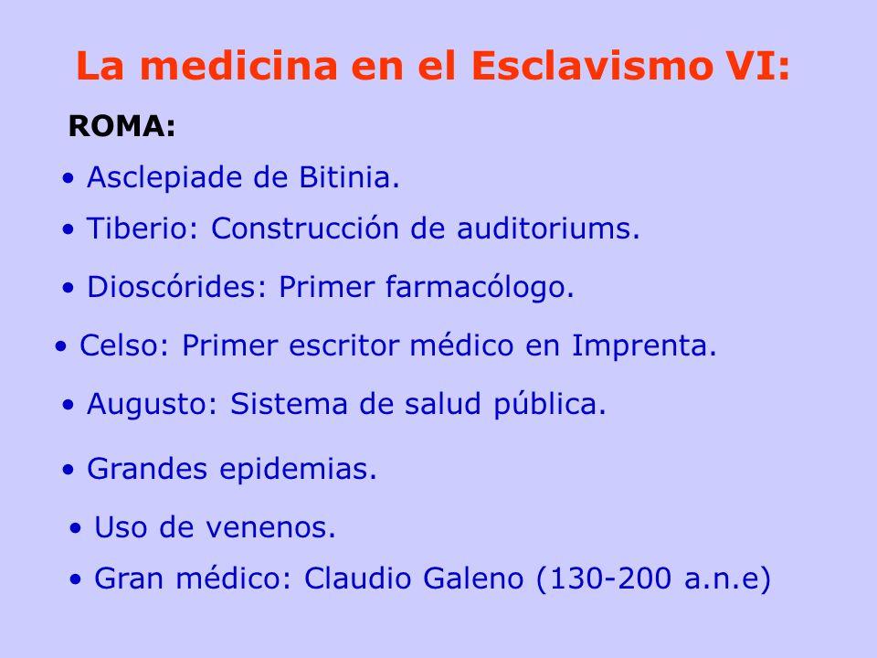 La medicina en el Esclavismo VI: Asclepiade de Bitinia. Tiberio: Construcción de auditoriums. Dioscórides: Primer farmacólogo. Celso: Primer escritor