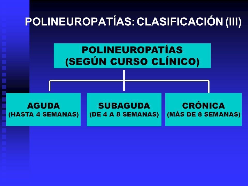 POLINEUROPATÍAS: CLASIFICACIÓN (III) POLINEUROPATÍAS (SEGÚN CURSO CLÍNICO) AGUDA (HASTA 4 SEMANAS) SUBAGUDA (DE 4 A 8 SEMANAS) CRÓNICA (MÁS DE 8 SEMAN