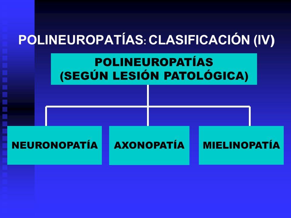 POLINEUROPATÍAS : CLASIFICACIÓN (IV ) POLINEUROPATÍAS (SEGÚN LESIÓN PATOLÓGICA) NEURONOPATÍA AXONOPATÍA MIELINOPATÍA