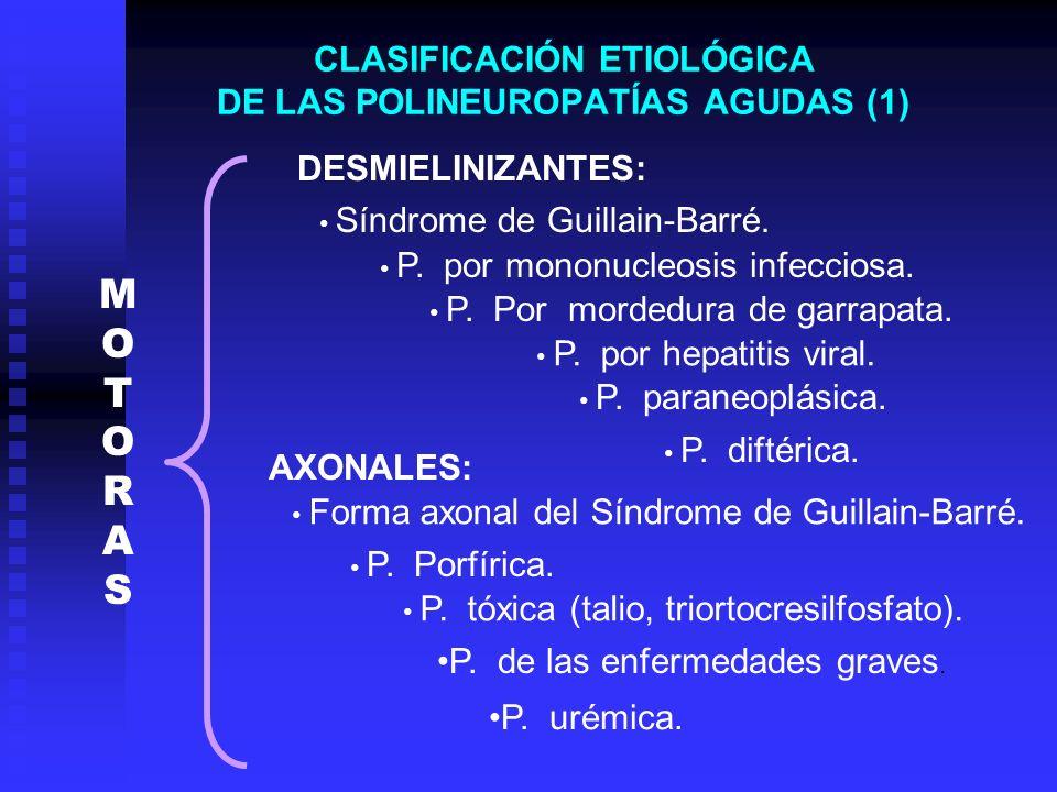 CLASIFICACIÓN ETIOLÓGICA DE LAS POLINEUROPATÍAS AGUDAS (1) DESMIELINIZANTES: Síndrome de Guillain-Barré. P. diftérica. P. por mononucleosis infecciosa