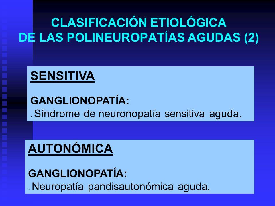 CLASIFICACIÓN ETIOLÓGICA DE LAS POLINEUROPATÍAS AGUDAS (2) SENSITIVA GANGLIONOPATÍA:. Síndrome de neuronopatía sensitiva aguda. AUTONÓMICA GANGLIONOPA