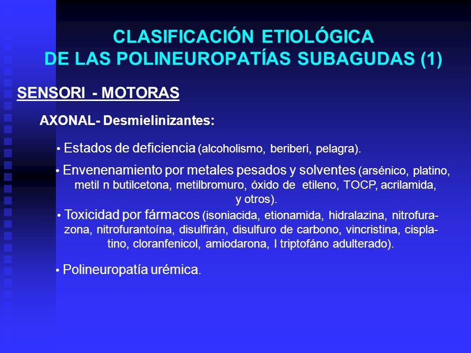 CLASIFICACIÓN ETIOLÓGICA DE LAS POLINEUROPATÍAS SUBAGUDAS (1) SENSORI - MOTORAS AXONAL- Desmielinizantes: Estados de deficiencia (alcoholismo, beriber