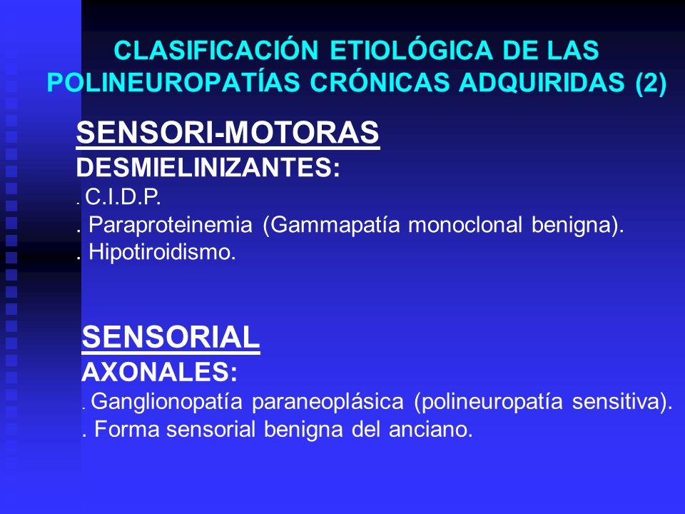 CLASIFICACIÓN ETIOLÓGICA DE LAS POLINEUROPATÍAS CRÓNICAS ADQUIRIDAS (2) SENSORI-MOTORAS DESMIELINIZANTES:. C.I.D.P.. Paraproteinemia (Gammapatía monoc