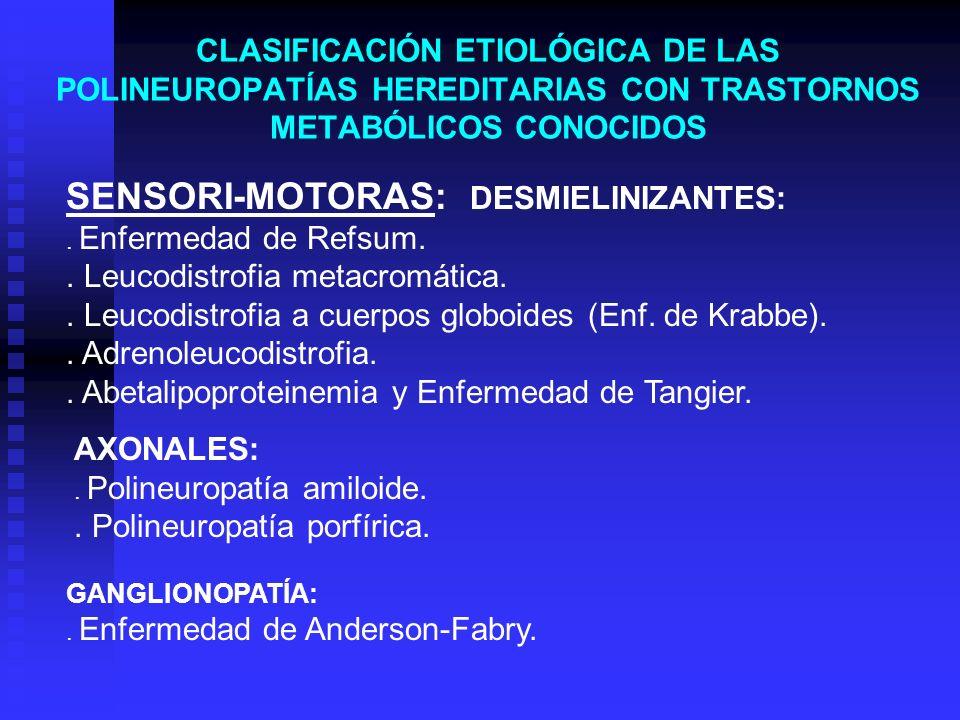 CLASIFICACIÓN ETIOLÓGICA DE LAS POLINEUROPATÍAS HEREDITARIAS CON TRASTORNOS METABÓLICOS CONOCIDOS GANGLIONOPATÍA:. Enfermedad de Anderson-Fabry. SENSO