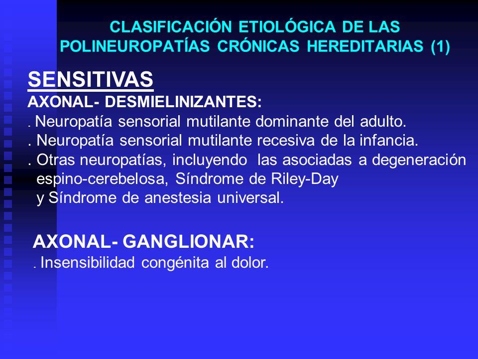 CLASIFICACIÓN ETIOLÓGICA DE LAS POLINEUROPATÍAS CRÓNICAS HEREDITARIAS (1) SENSITIVAS AXONAL- DESMIELINIZANTES:. Neuropatía sensorial mutilante dominan