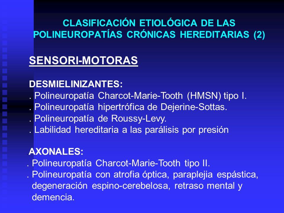 CLASIFICACIÓN ETIOLÓGICA DE LAS POLINEUROPATÍAS CRÓNICAS HEREDITARIAS (2). AXONALES:. Polineuropatía Charcot-Marie-Tooth tipo II.. Polineuropatía con