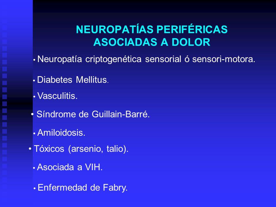 NEUROPATÍAS PERIFÉRICAS ASOCIADAS A DOLOR Neuropatía criptogenética sensorial ó sensori-motora. Diabetes Mellitus. Vasculitis. Síndrome de Guillain-Ba