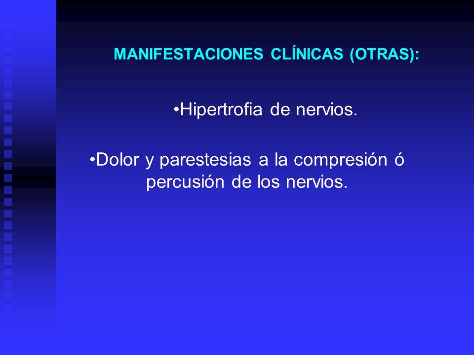 MANIFESTACIONES CLÍNICAS (OTRAS): Hipertrofia de nervios. Dolor y parestesias a la compresión ó percusión de los nervios.