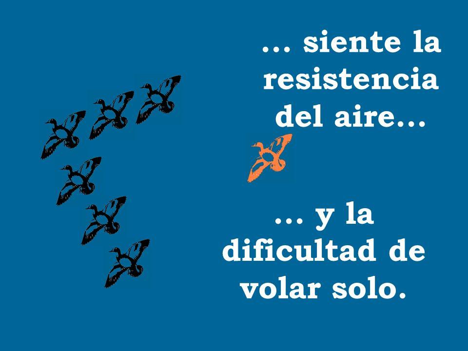 ... siente la resistencia del aire...... y la dificultad de volar solo.