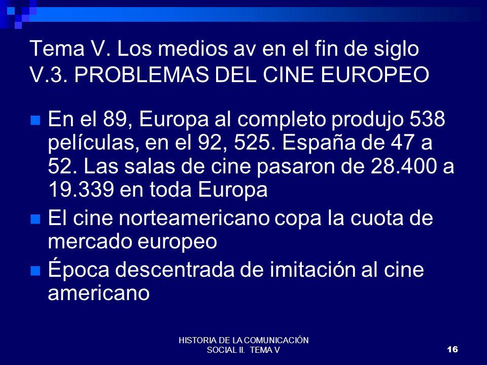 HISTORIA DE LA COMUNICACIÓN SOCIAL II. TEMA V16 Tema V. Los medios av en el fin de siglo V.3. PROBLEMAS DEL CINE EUROPEO En el 89, Europa al completo