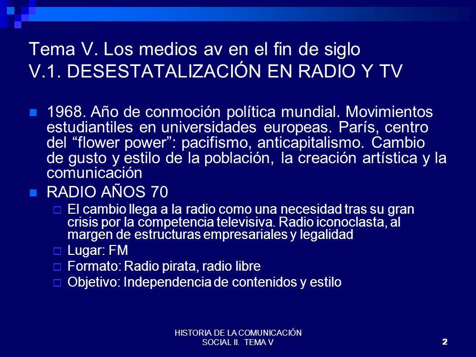 HISTORIA DE LA COMUNICACIÓN SOCIAL II. TEMA V2 Tema V. Los medios av en el fin de siglo V.1. DESESTATALIZACIÓN EN RADIO Y TV 1968. Año de conmoción po