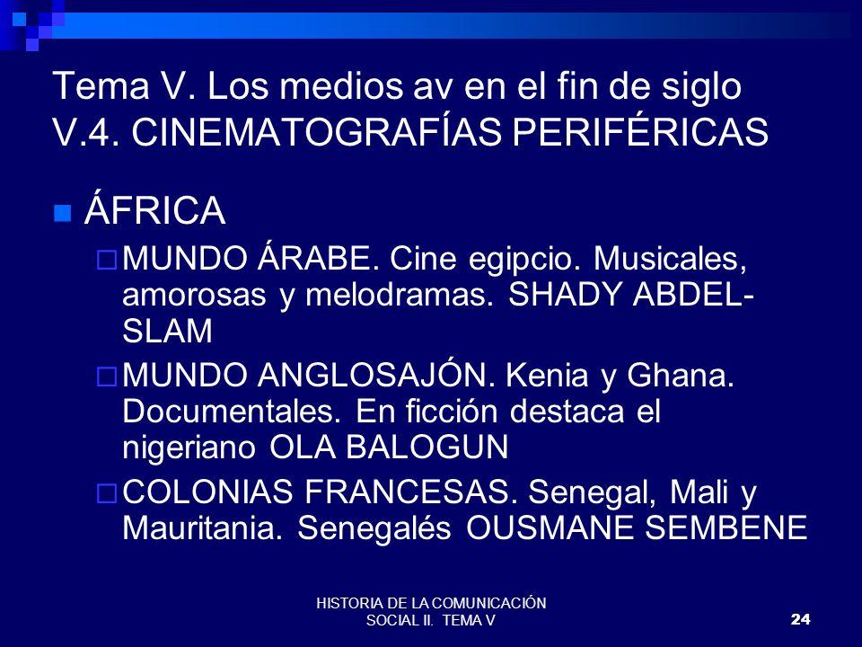 HISTORIA DE LA COMUNICACIÓN SOCIAL II. TEMA V24 Tema V. Los medios av en el fin de siglo V.4. CINEMATOGRAFÍAS PERIFÉRICAS ÁFRICA MUNDO ÁRABE. Cine egi