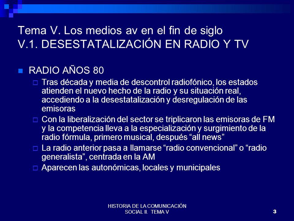 HISTORIA DE LA COMUNICACIÓN SOCIAL II. TEMA V3 Tema V. Los medios av en el fin de siglo V.1. DESESTATALIZACIÓN EN RADIO Y TV RADIO AÑOS 80 Tras década