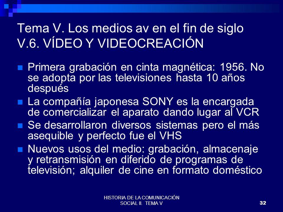 HISTORIA DE LA COMUNICACIÓN SOCIAL II. TEMA V32 Tema V. Los medios av en el fin de siglo V.6. VÍDEO Y VIDEOCREACIÓN Primera grabación en cinta magnéti