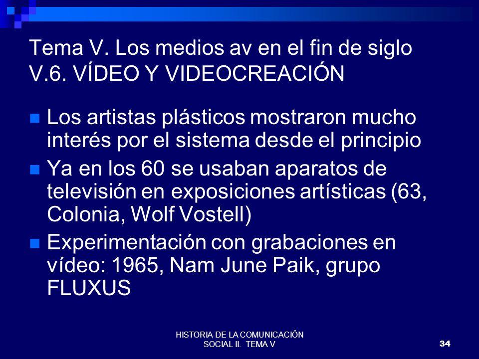 HISTORIA DE LA COMUNICACIÓN SOCIAL II. TEMA V34 Tema V. Los medios av en el fin de siglo V.6. VÍDEO Y VIDEOCREACIÓN Los artistas plásticos mostraron m