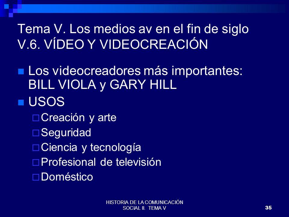 HISTORIA DE LA COMUNICACIÓN SOCIAL II. TEMA V35 Tema V. Los medios av en el fin de siglo V.6. VÍDEO Y VIDEOCREACIÓN Los videocreadores más importantes
