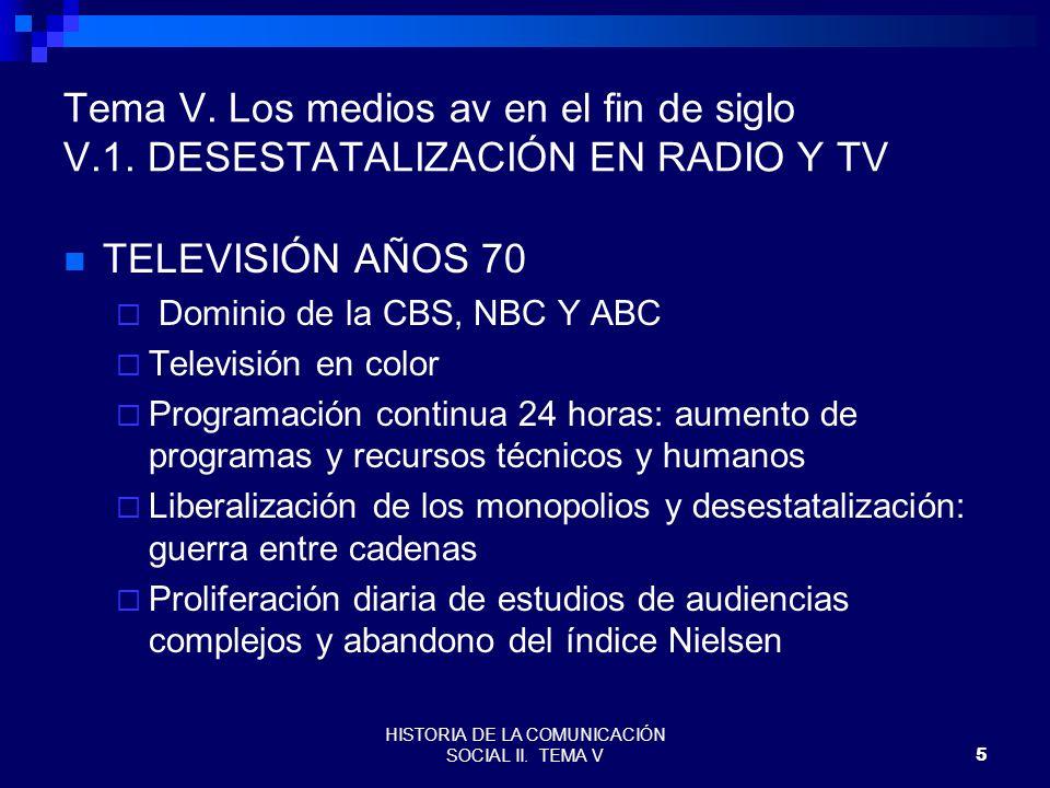 HISTORIA DE LA COMUNICACIÓN SOCIAL II. TEMA V5 Tema V. Los medios av en el fin de siglo V.1. DESESTATALIZACIÓN EN RADIO Y TV TELEVISIÓN AÑOS 70 Domini