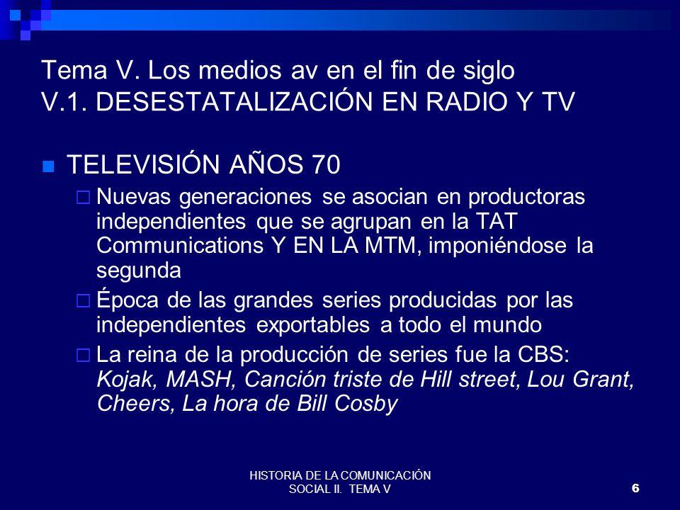 HISTORIA DE LA COMUNICACIÓN SOCIAL II. TEMA V6 Tema V. Los medios av en el fin de siglo V.1. DESESTATALIZACIÓN EN RADIO Y TV TELEVISIÓN AÑOS 70 Nuevas