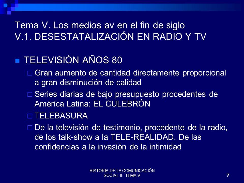 HISTORIA DE LA COMUNICACIÓN SOCIAL II. TEMA V7 Tema V. Los medios av en el fin de siglo V.1. DESESTATALIZACIÓN EN RADIO Y TV TELEVISIÓN AÑOS 80 Gran a