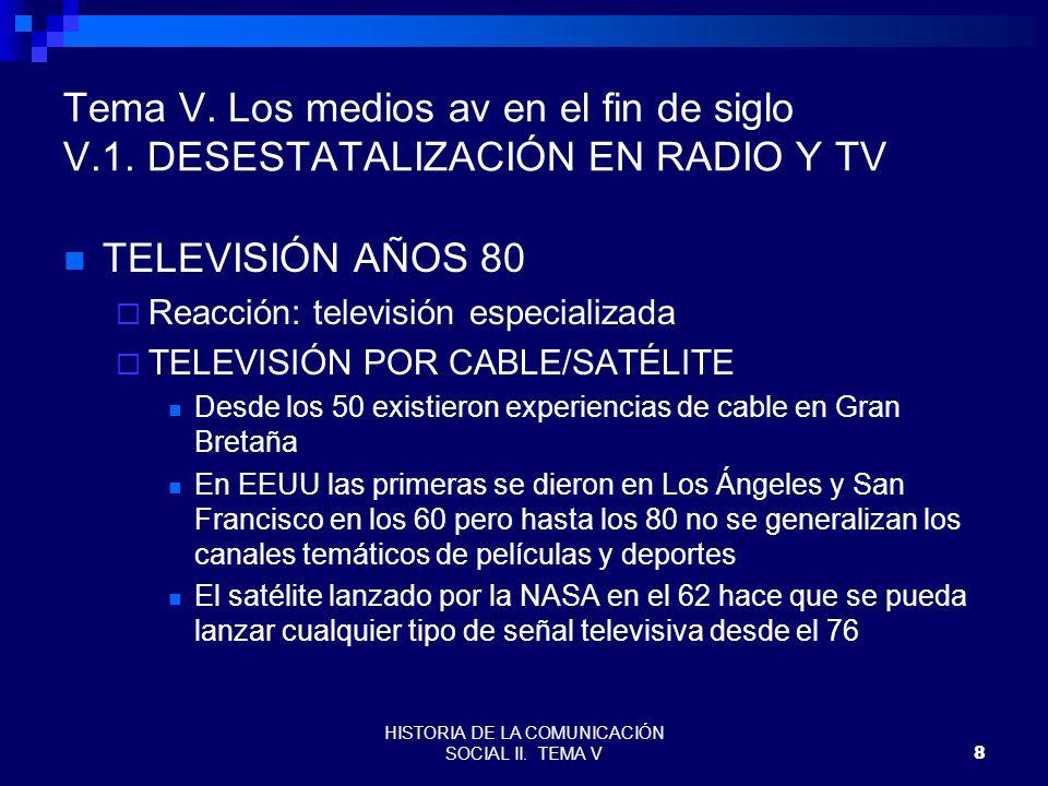 HISTORIA DE LA COMUNICACIÓN SOCIAL II. TEMA V8 Tema V. Los medios av en el fin de siglo V.1. DESESTATALIZACIÓN EN RADIO Y TV TELEVISIÓN AÑOS 80 Reacci