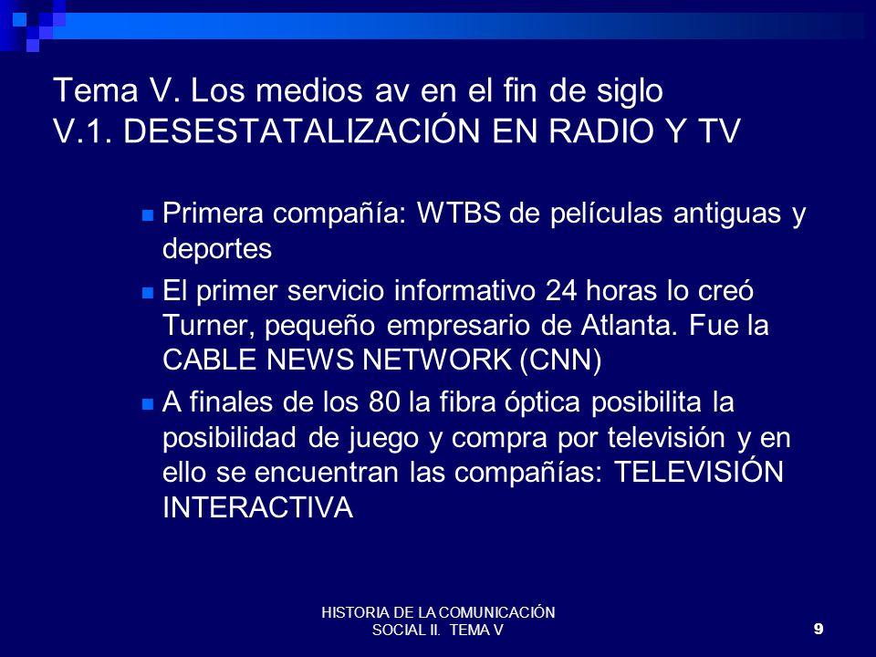 HISTORIA DE LA COMUNICACIÓN SOCIAL II. TEMA V9 Tema V. Los medios av en el fin de siglo V.1. DESESTATALIZACIÓN EN RADIO Y TV Primera compañía: WTBS de