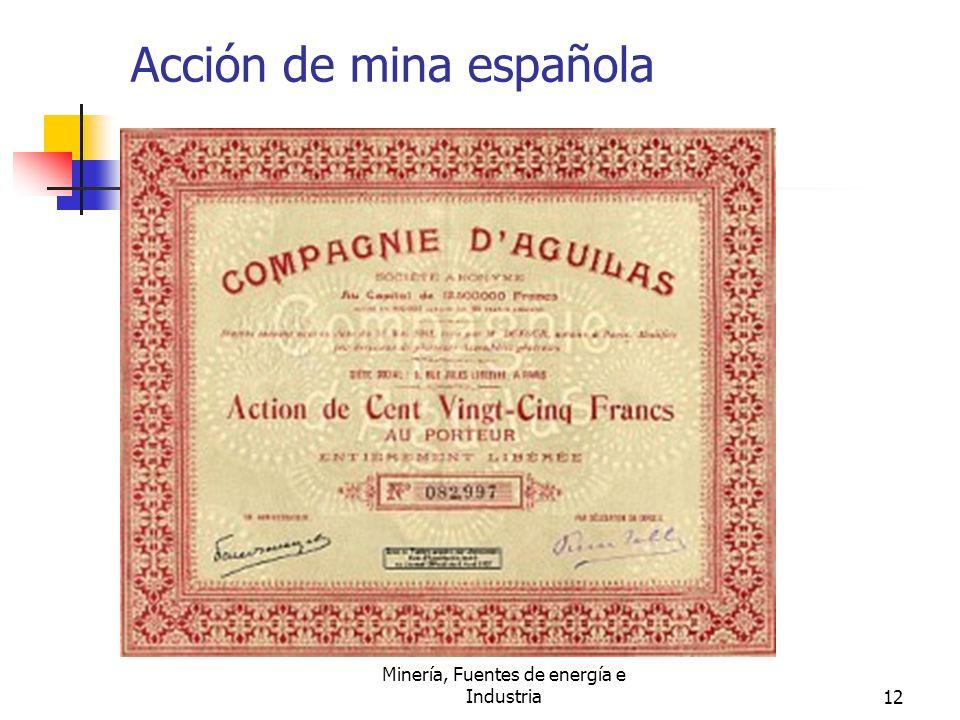 Minería, Fuentes de energía e Industria12 Acción de mina española
