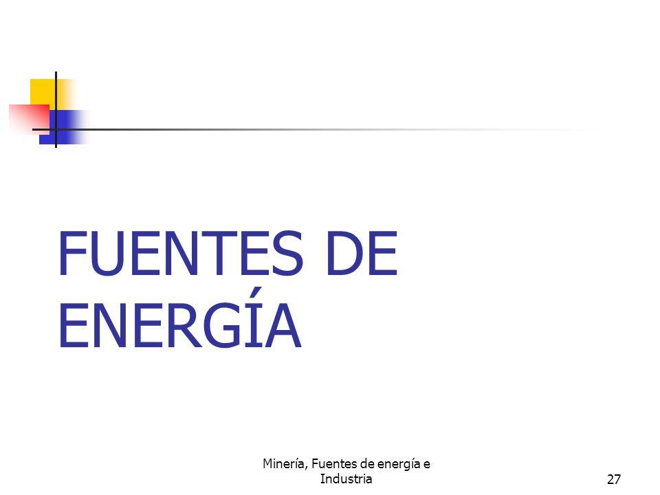 Minería, Fuentes de energía e Industria27 FUENTES DE ENERGÍA