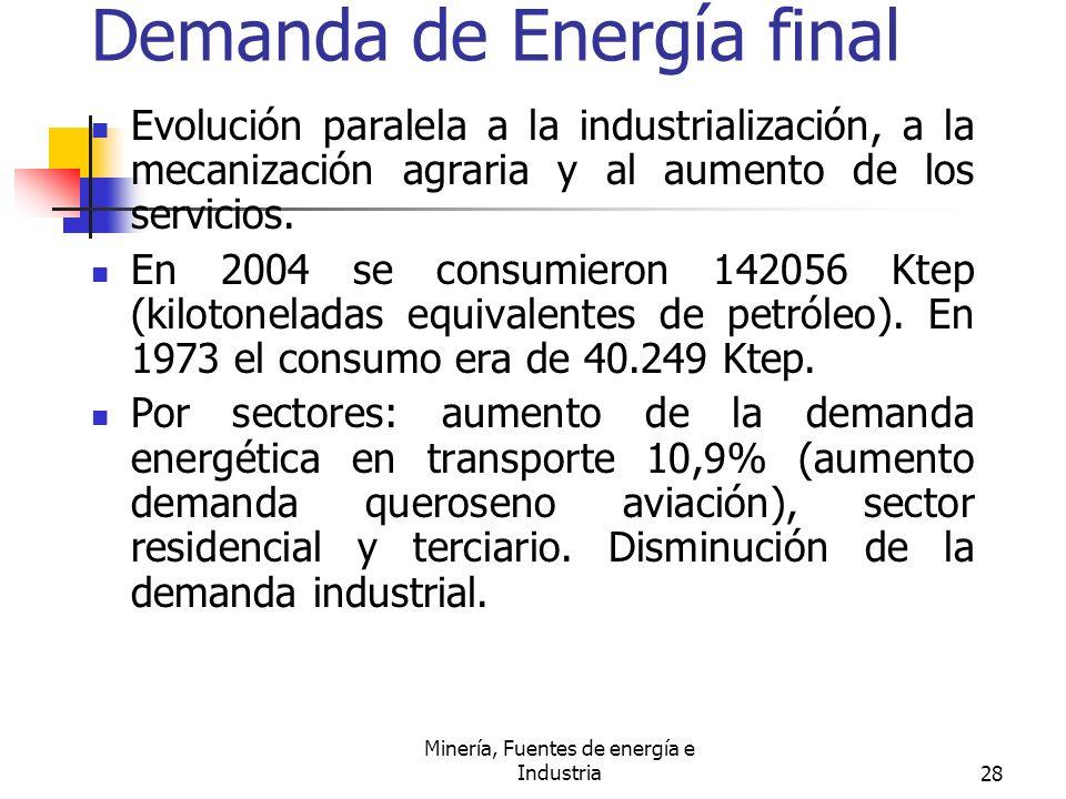 Minería, Fuentes de energía e Industria28 Demanda de Energía final Evolución paralela a la industrialización, a la mecanización agraria y al aumento d