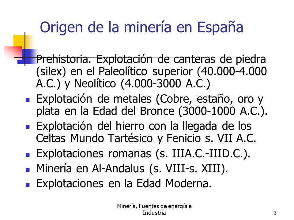 Minería, Fuentes de energía e Industria3 Origen de la minería en España Prehistoria. Explotación de canteras de piedra (silex) en el Paleolítico super