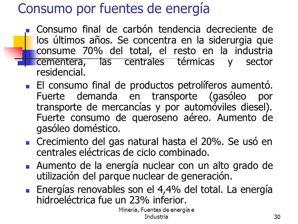 Minería, Fuentes de energía e Industria30 Consumo por fuentes de energía Consumo final de carbón tendencia decreciente de los últimos años. Se concent