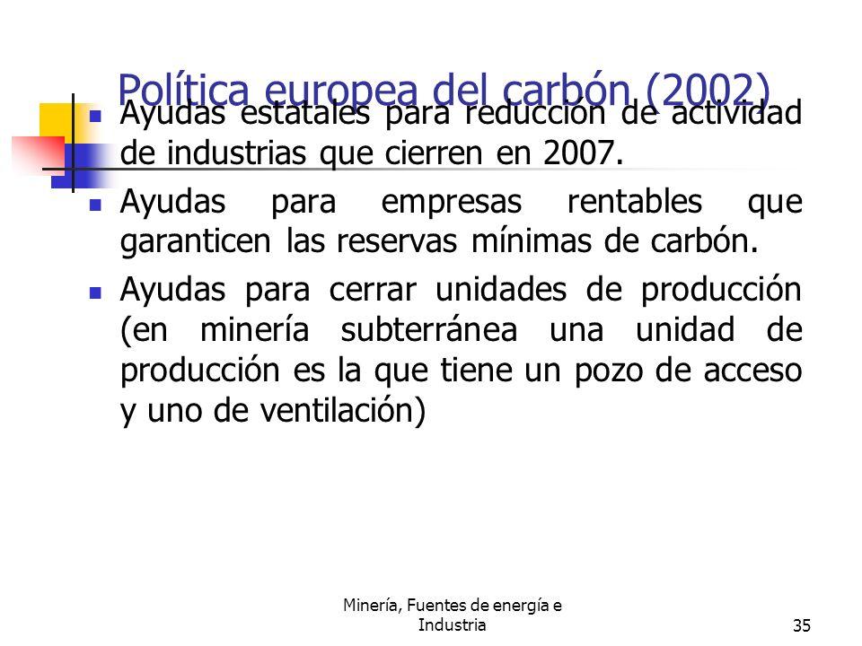 Minería, Fuentes de energía e Industria35 Política europea del carbón (2002) Ayudas estatales para reducción de actividad de industrias que cierren en
