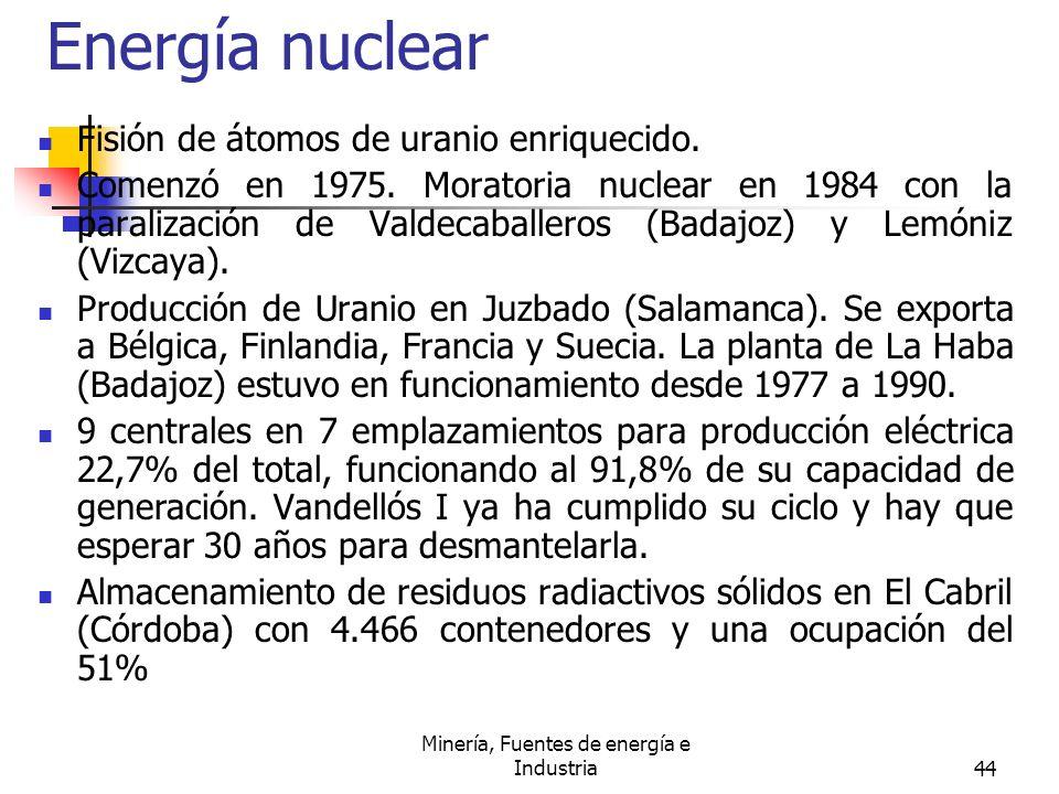 Minería, Fuentes de energía e Industria44 Energía nuclear Fisión de átomos de uranio enriquecido. Comenzó en 1975. Moratoria nuclear en 1984 con la pa