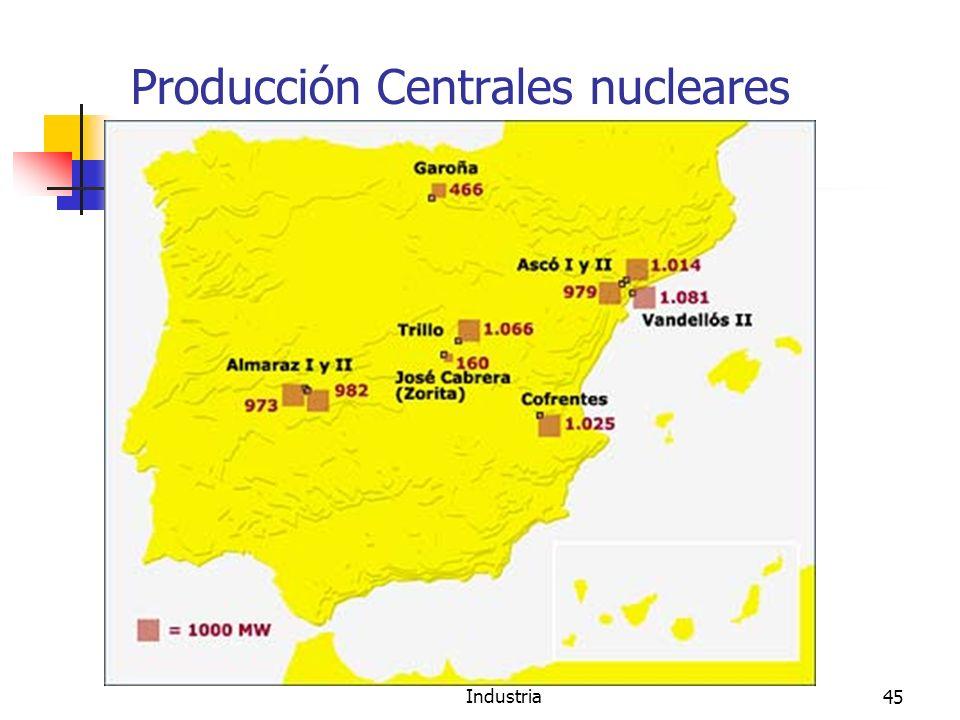 Minería, Fuentes de energía e Industria45 Producción Centrales nucleares