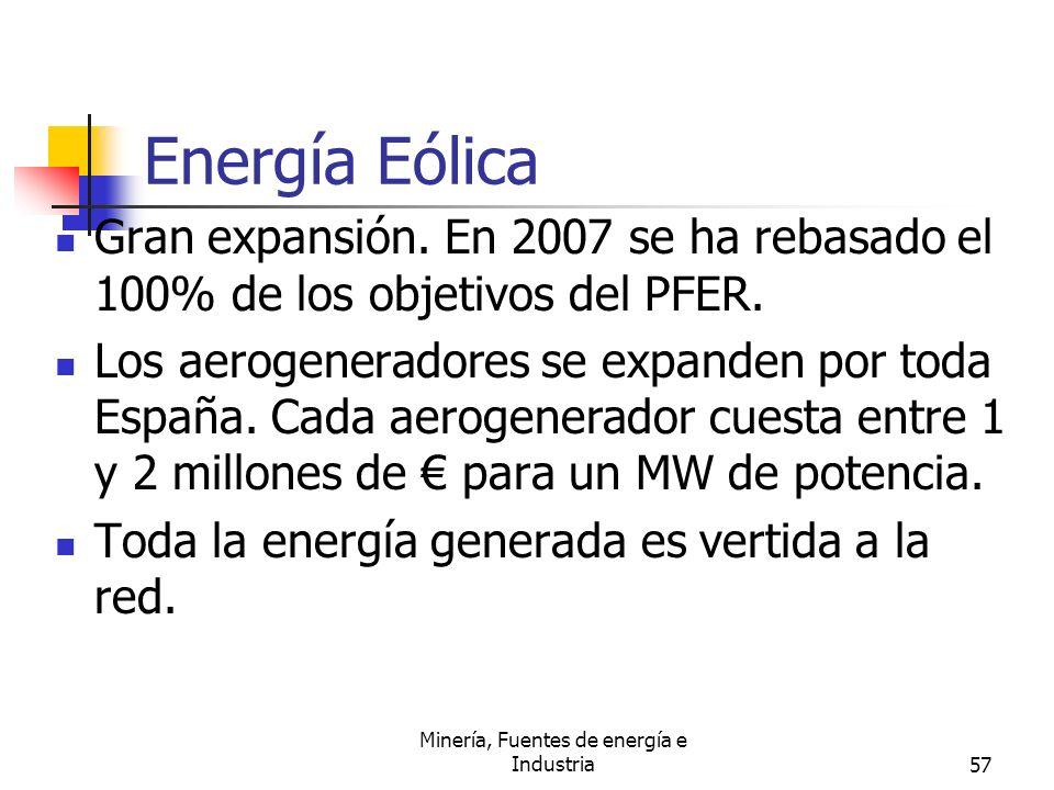 Minería, Fuentes de energía e Industria57 Energía Eólica Gran expansión. En 2007 se ha rebasado el 100% de los objetivos del PFER. Los aerogeneradores