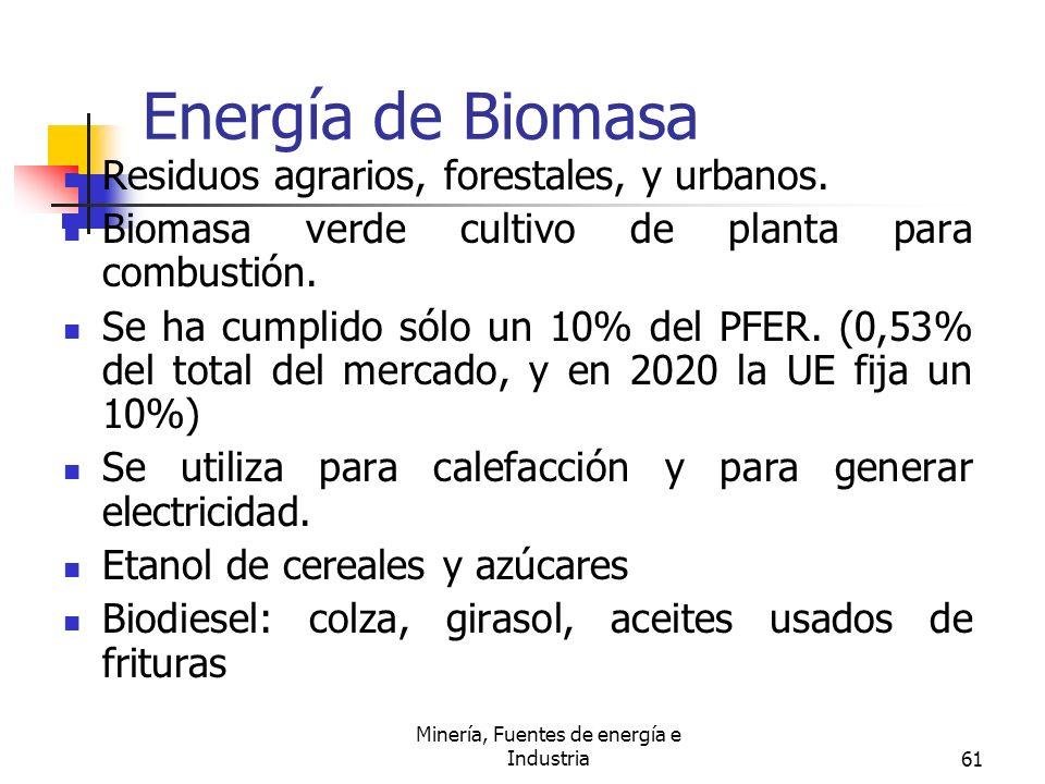 Minería, Fuentes de energía e Industria61 Energía de Biomasa Residuos agrarios, forestales, y urbanos. Biomasa verde cultivo de planta para combustión