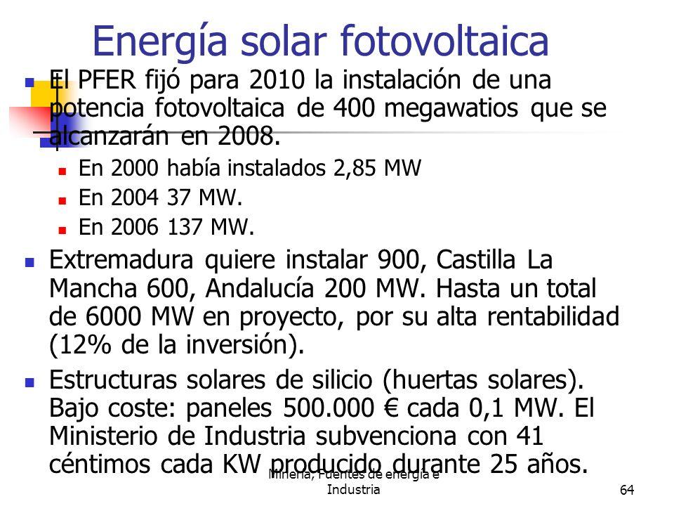 Minería, Fuentes de energía e Industria64 Energía solar fotovoltaica El PFER fijó para 2010 la instalación de una potencia fotovoltaica de 400 megawat