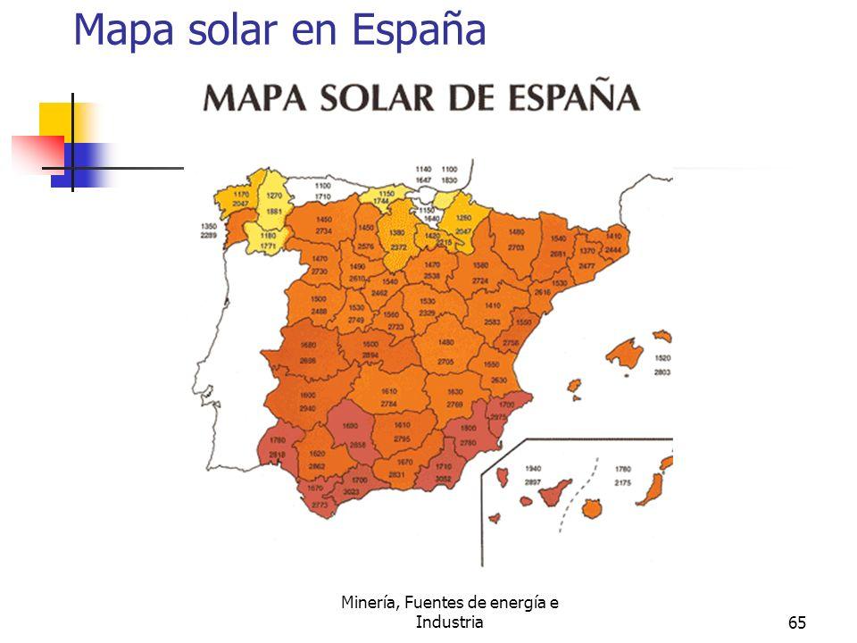 Minería, Fuentes de energía e Industria65 Mapa solar en España