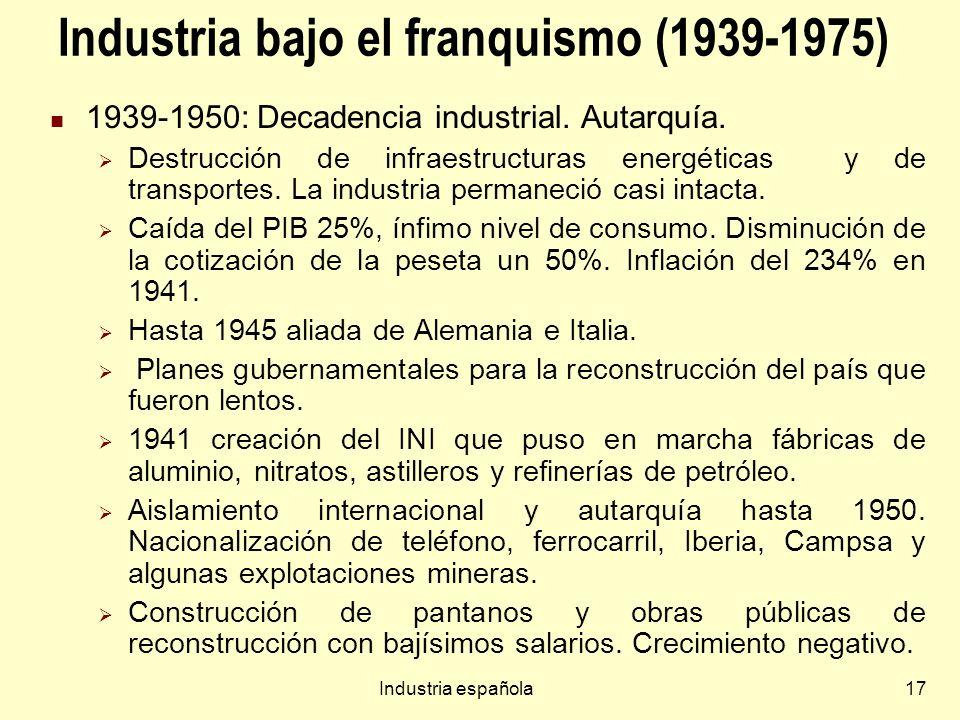 Industria española17 Industria bajo el franquismo (1939-1975) 1939-1950: Decadencia industrial. Autarquía. Destrucción de infraestructuras energéticas