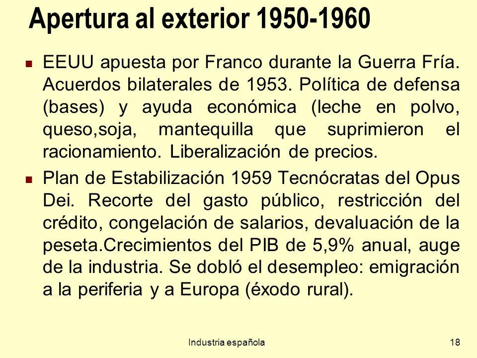 Industria española18 Apertura al exterior 1950-1960 EEUU apuesta por Franco durante la Guerra Fría. Acuerdos bilaterales de 1953. Política de defensa