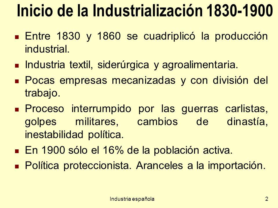 2 Inicio de la Industrialización 1830-1900 Entre 1830 y 1860 se cuadriplicó la producción industrial. Industria textil, siderúrgica y agroalimentaria.