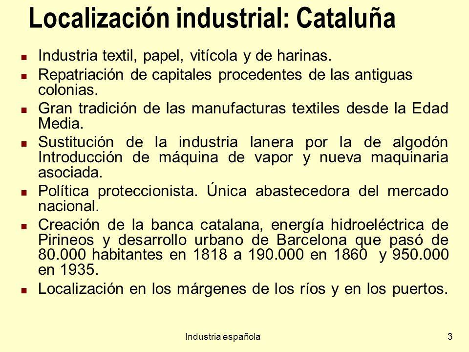 Industria española3 Localización industrial: Cataluña Industria textil, papel, vitícola y de harinas. Repatriación de capitales procedentes de las ant