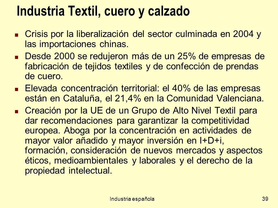 Industria española39 Industria Textil, cuero y calzado Crisis por la liberalización del sector culminada en 2004 y las importaciones chinas. Desde 200