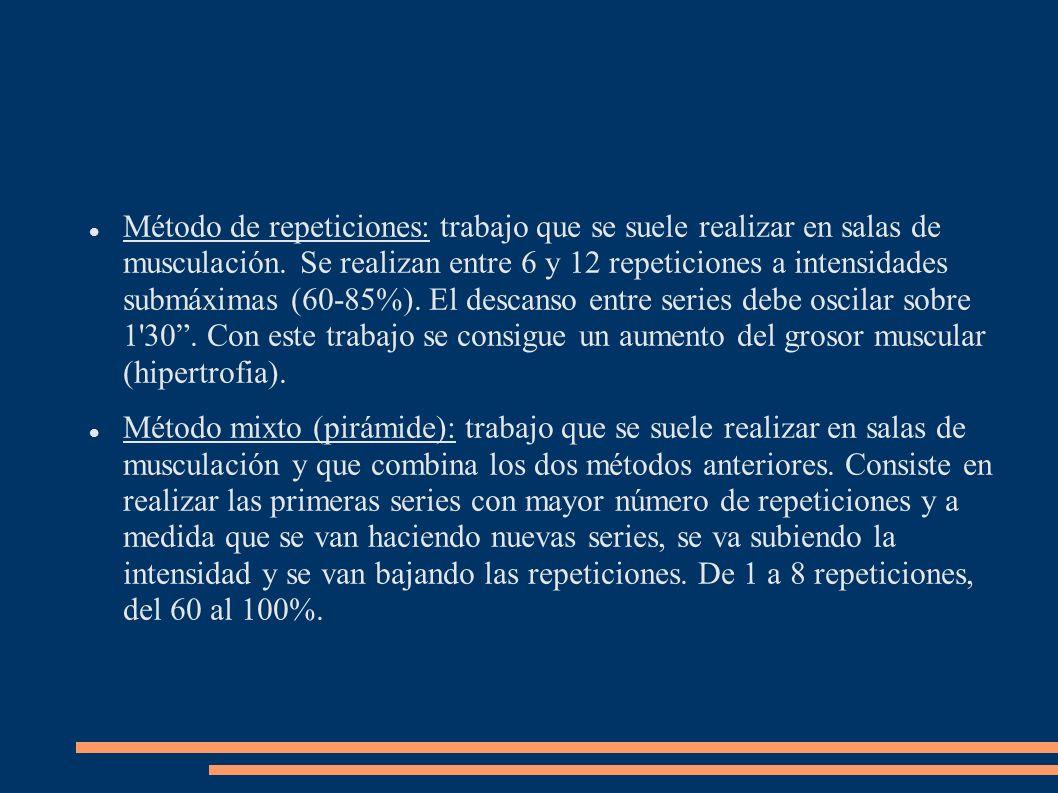 Método de repeticiones: trabajo que se suele realizar en salas de musculación. Se realizan entre 6 y 12 repeticiones a intensidades submáximas (60-85%